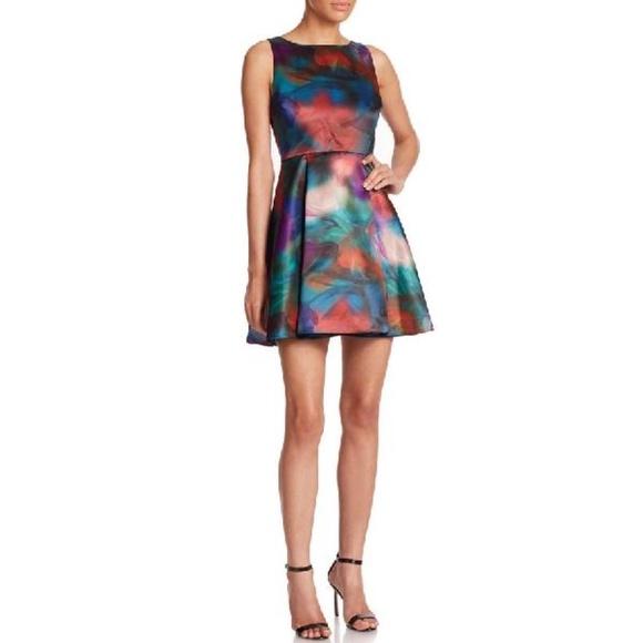 Alice + Olivia Belia A-Line Watercolor Dress Sz 6